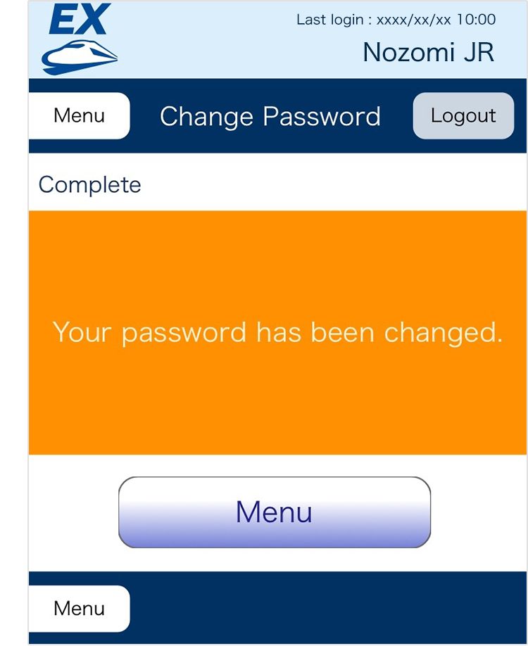 Input your current password and your new password.